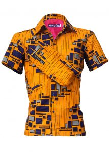 Indola African Riding Shirt Orange Geo